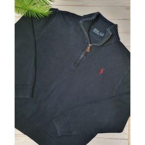 Polo Ralph Lauren Men's Dark Navy Blue Sweater 100% Cotton, Knit Collar, Size XL